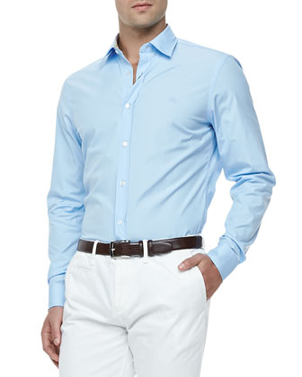 Slim-Fit Stretch-Cotton Dress Shirt, Pale Blue