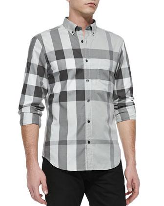 Exploded Check Long-Sleeve Shirt, Gray