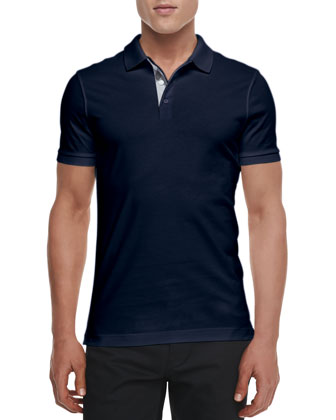 Check-Detail Short-Sleeve Jersey Polo, Navy