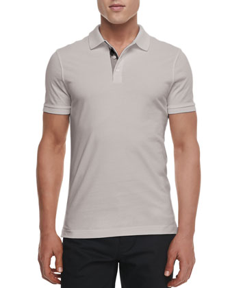 Check-Detail Short-Sleeve Jersey Polo, Gray