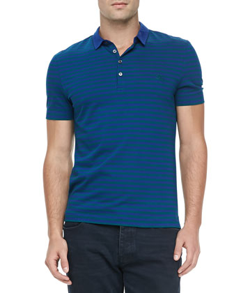 Striped Jersey Short-Sleeve Polo, Blue/Green