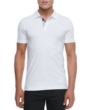 Check-Detail Short-Sleeve Jersey Polo, White
