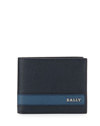 Saffiano Leather Wallet, Black/Blue