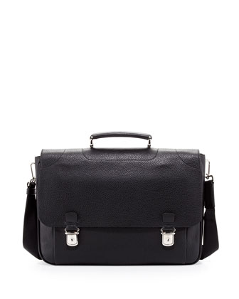 Leather Double-Snap Briefcase, Black
