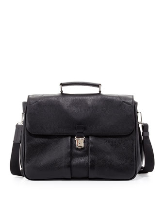 Marlo Leather Double-Gusset Briefcase, Black