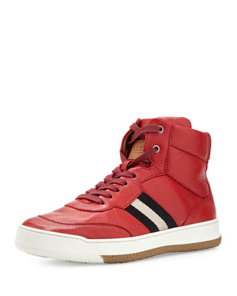 Atilio Grained Deerskin Mid-Top Sneaker, Red