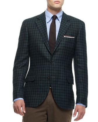 Daks Plaid Notch-Lapel Jacket, Green