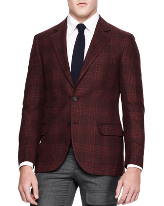 Plaid Two-Button Sport Coat, Red