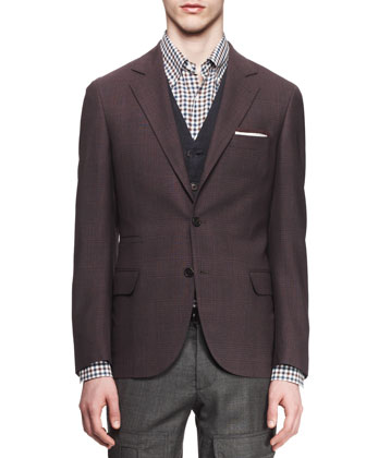 Glen Plaid Notched-Collar Wool-Silk Jacket, Purple