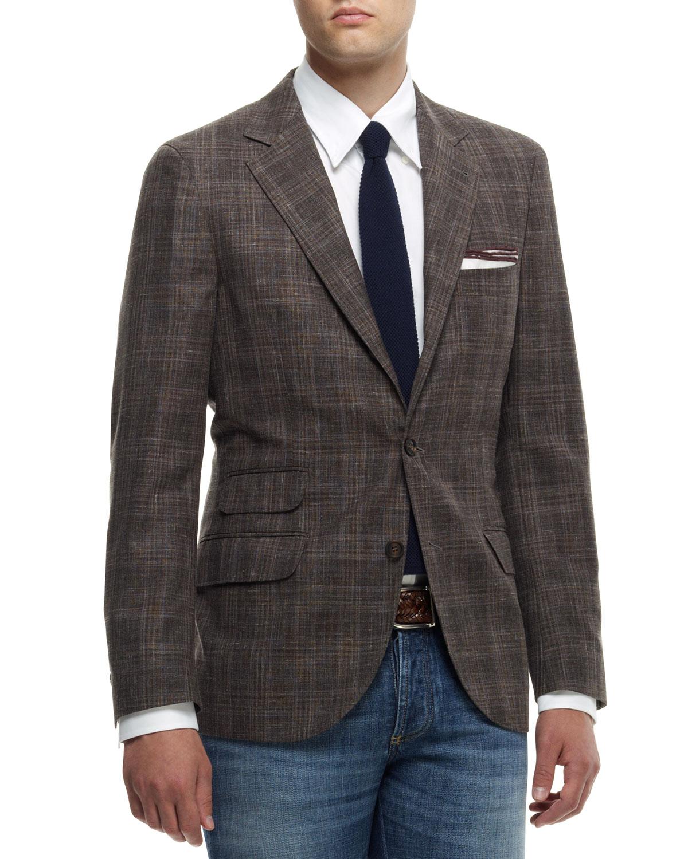 Mens Madras Check Notch Collar Jacket   Brunello Cucinelli   Brown (56)
