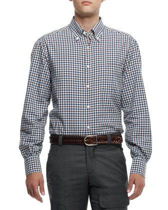 Textured Check Button-Down Shirt, Brown/Blue