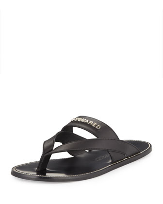 Men's Cross-Strap Thong Sandal, Black