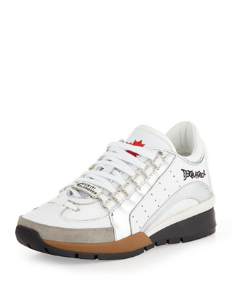 Men's Low-Top Maple Leaf Sneaker, White/Silver