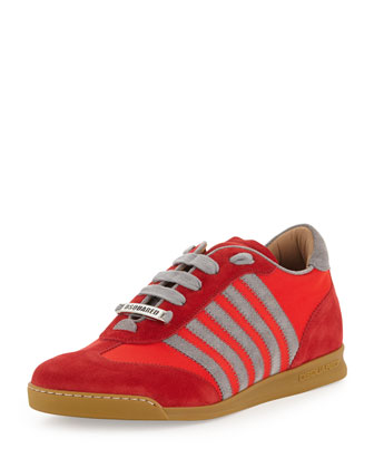 Striped Low-Top Sneaker, Red
