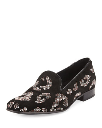 Men's Leopard Studded Suede Smoking Slipper, Black