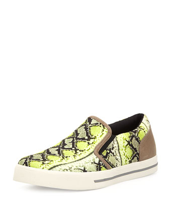 Men's Snake-Print Canvas Sneaker, Neon Green