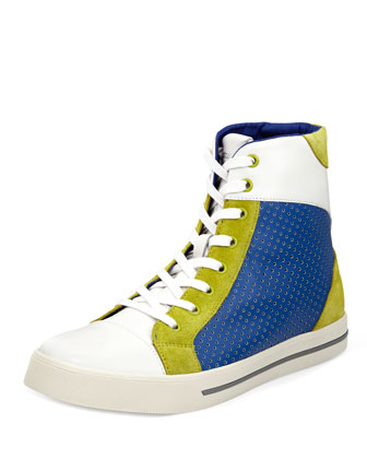 Men's Colorblock High-Top Sneaker, White/Blue/Green
