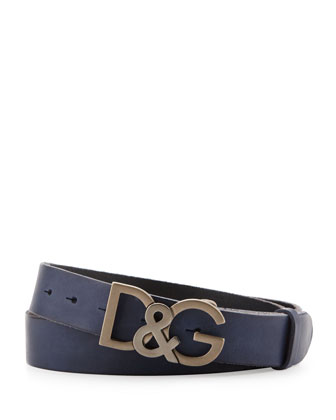 Leather D&G Logo Buckle Belt, Navy