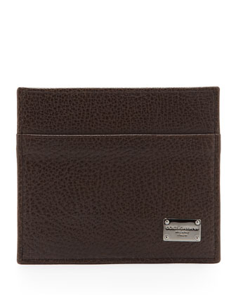 Pebbled Logo Card Case, Dark Brown
