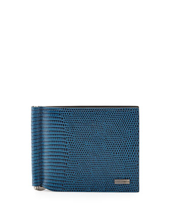 Bi-Fold Wallet with Money Clip, Blue