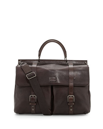 Kangaroo & Calfskin Briefcase, Brown