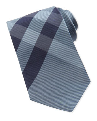 Woven Check Tie, Light Blue