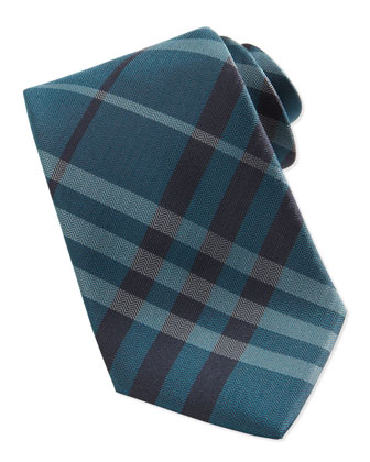 Herringbone Check Tie, Teal