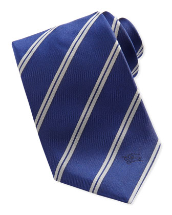 Diagonal Striped Silk Tie, Blue