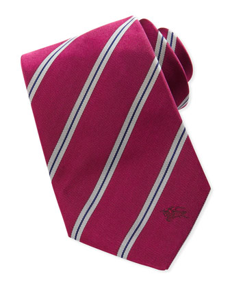 Diagonal Striped Silk Tie, Red/Gray