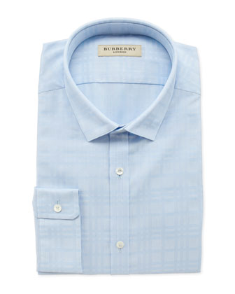 Tonal-Check Dress Shirt, Light Blue