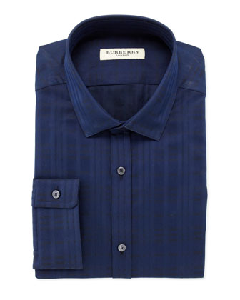 Tonal-Check Dress Shirt, Navy
