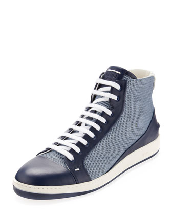 Men's Mini-Zucca Leather High-Top Sneaker, Blue
