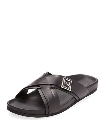 Leather Crisscross Sandal, Black