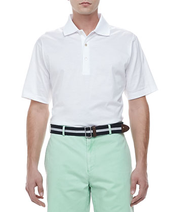 Knit-Collar Short-Sleeve Polo, White