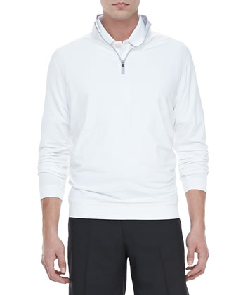 Terry Quarter-Zip Pullover, White