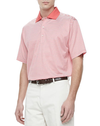 Classic Striped Knit Polo, Red/White
