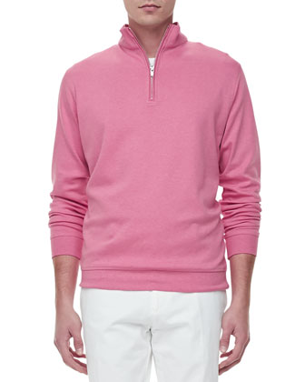 Fleece Mock-Neck Pullover, Pink