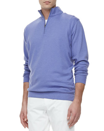 Interlock-Knit Quarter-Zip Sweater, Purple