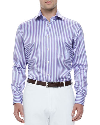 Texture-Striped Shirt, Purple