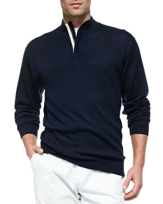 Silk/Wool 1/4-Zip Pullover Sweater, Navy