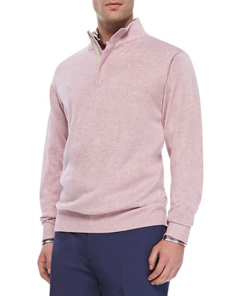 Quarter-Zip Pullover Sweater, Pink