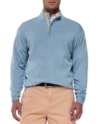 Quarter-Zip Pullover, Light Blue