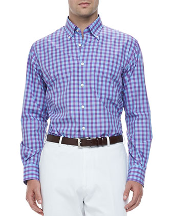 Harwich Port Check Long-Sleeve Sport Shirt, Purple