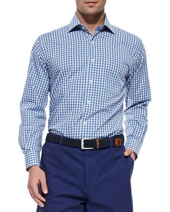 Melange Gingham-Check Sport Shirt, Blue