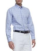 Twill Tattersall-Check Long-Sleeve Shirt, Purple