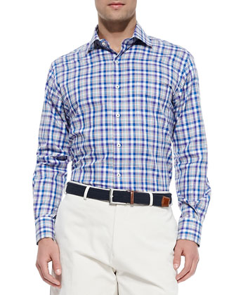 Pinwheel Plaid Sport Shirt, Multi