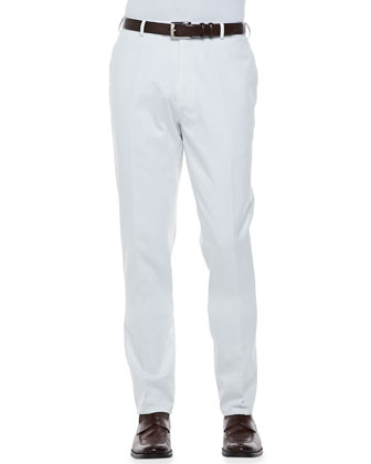 Raleigh Washed Flat Front Pants, White