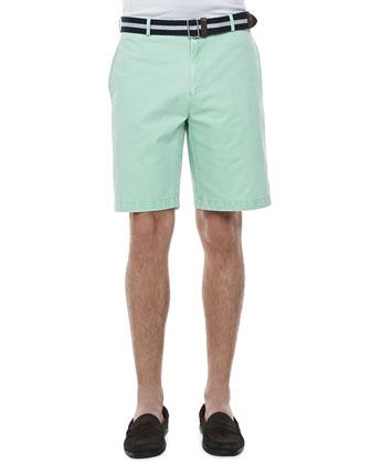 Knit-Collar Short-Sleeve Polo & Winston Washed Twill Shorts