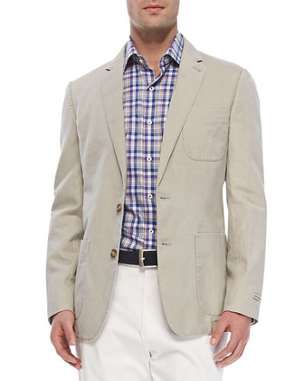 Cotton-Linen Soft Jacket, Pinwheel Plaid Sport Shirt & Raleigh Washed ...