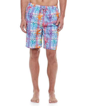 Inked Octopus-Print Swim Trunks